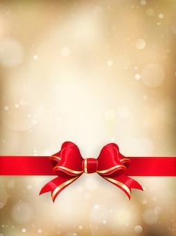 Kerstdecoratie - red ribbon bow met bokeh.