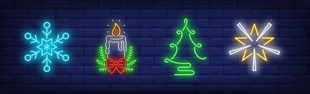 Kerstdecoratie symbolen in neon stijl