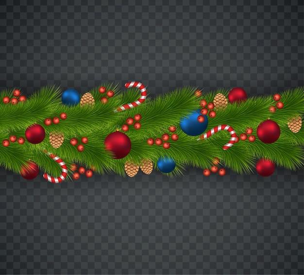 Kerstdecoratie van kerstboomtakken, slingers, kegels, karamelstokjes, viburnum.
