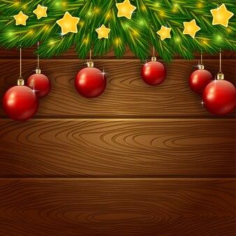 Kerstdekoratie met sterren op houten achtergrond