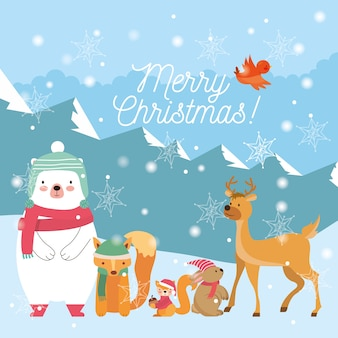Kerstdieren tussen winterlandschap. kerstkaart