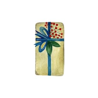 Kerstdoos verpakt in papier en versierd met takken en lint