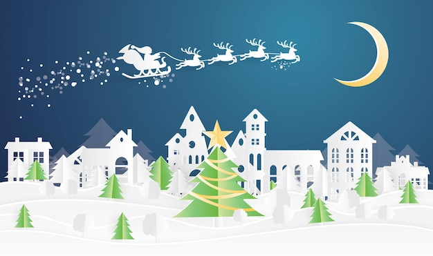 Kerstdorp en de kerstman in slee in papierstijl. winterlandschap met maan.
