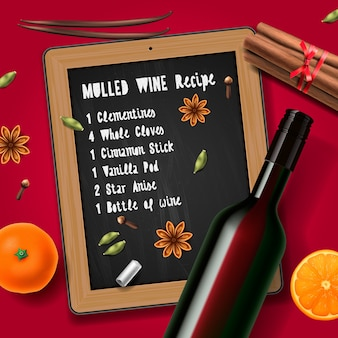 Kerstdrank glühwein, fles wijn en recept