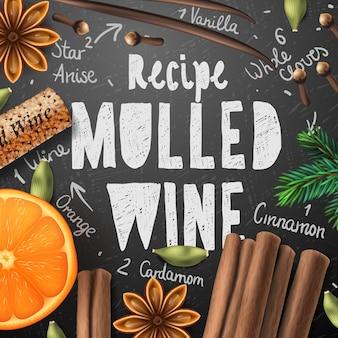 Kerstdrank glühwein, zelfgemaakte drank en ingrediënten, vectorillustratie.