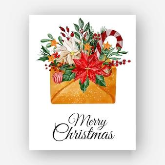 Kerstenvelop met bloem poinsettia aquarel illustratie