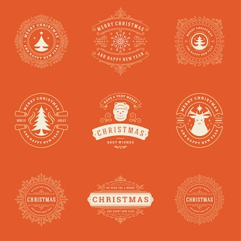 Kerstetiketten en badges-elementen. prettige kerstdagen en gelukkig nieuwjaar wensen retro typografie decoratie objecten voor wenskaarten vintage ornamenten.