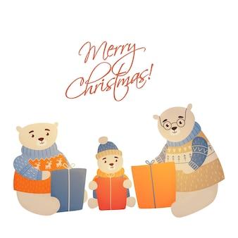 Kerstfamilie draagt merry christmas