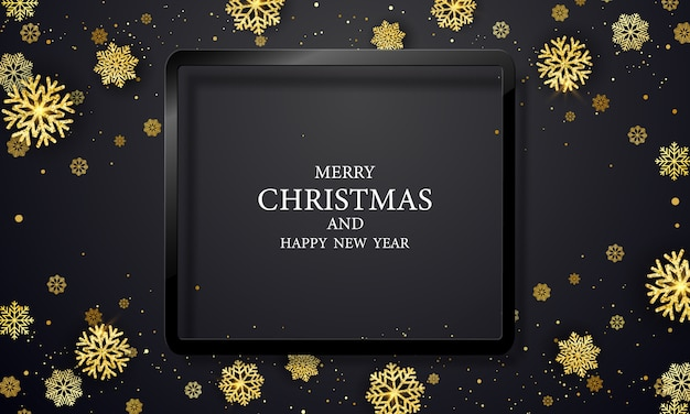 Kerstfeest en happy new year zwarte achtergrond.