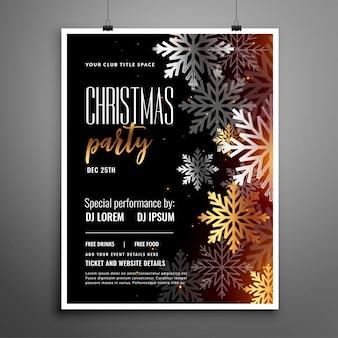 Kerstfeest flyer met zilveren sneeuwvlokken decoratie