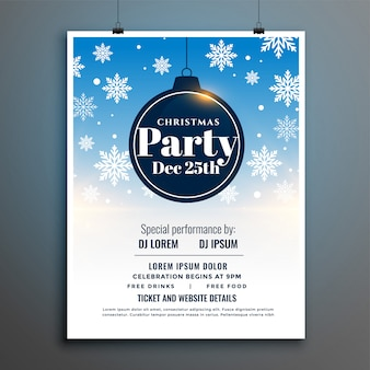 Kerstfeest flyer poster sjabloon met vallende sneeuw