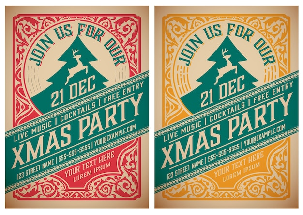 Kerstfeest flyer retro typografie en ornament decoratie.