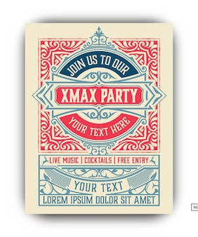 Kerstfeest flyer retro typografie en ornament decoratie