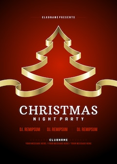 Kerstfeest flyer uitnodiging ontwerp typografie en gouden boom van lint