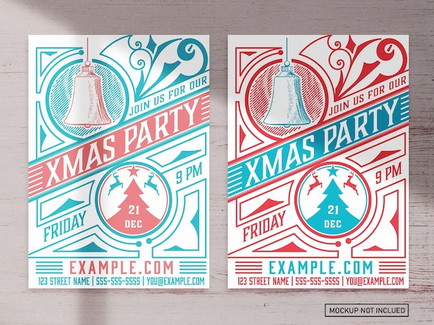 Kerstfeest grafische flyer lay-out