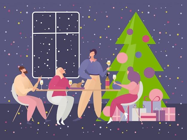Kerstfeest illustratie, cartoon gelukkige platte vrienden mensen zitten aan tafel voor een feestelijk diner op kerstviering