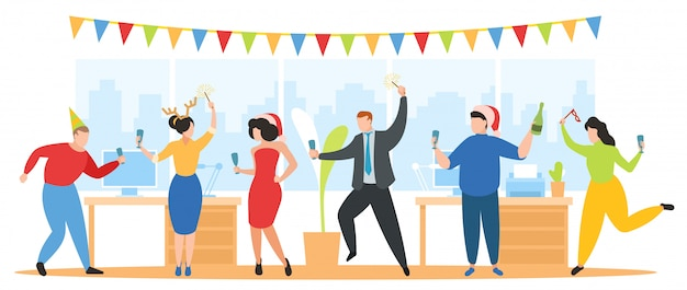 Kerstfeest in kantoor illustratie, team van gelukkige zakelijke mensen vieren, dansen, plezier hebben op nieuwjaars vakantie