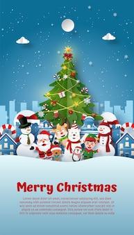 Kerstfeest met de kerstman en vrienden in sneeuwstad