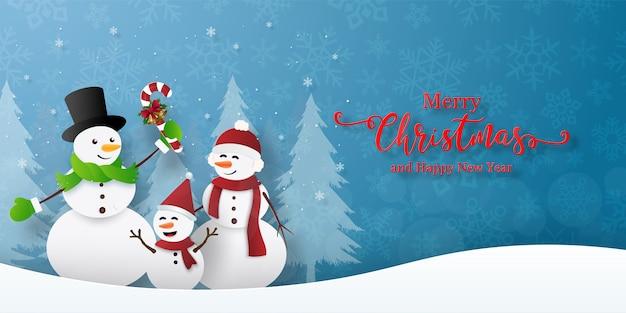 Kerstfeest met sneeuwman. prettige kerstdagen en gelukkig nieuwjaar wenskaart
