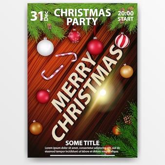 Kerstfeest. moderne, heldere poster. hout textuur
