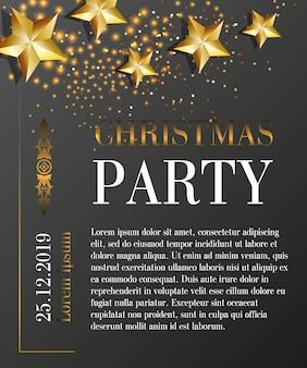 Kerstfeest partij belettering met datum op zwarte achtergrond