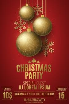 Kerstfeest poster. gouden glinsterende balls.hanging sterren en sneeuwvlokken. dj-naam. nachtdisco