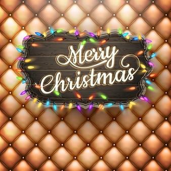 Kerstfeest poster - houten banner.
