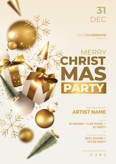 Kerstfeest poster met realistische ornamenten