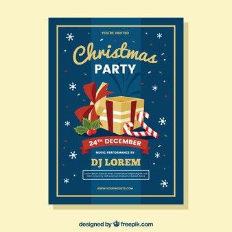 Kerstfeest poster met vlak ontwerp