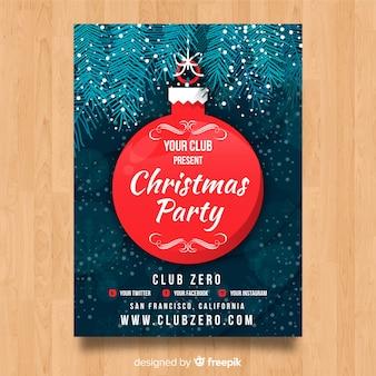 Kerstfeest poster opknoping bal sjabloon