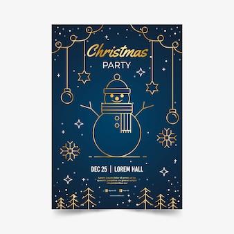 Kerstfeest poster sjabloon in kaderstijl