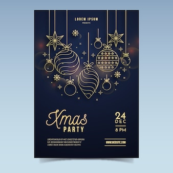 Kerstfeest poster sjabloon in kaderstijl