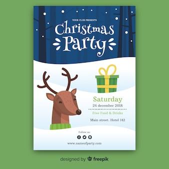 Kerstfeest poster sjabloon in vlakke stijl