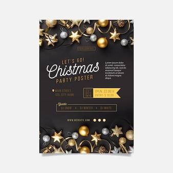 Kerstfeest poster sjabloon met foto