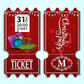 Kerstfeest ticket sjabloon met geschenken