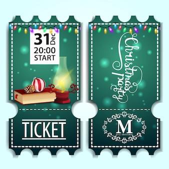 Kerstfeest ticket sjabloon met kerstboeken