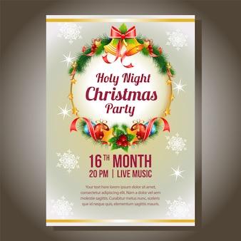 Kerstfeest uitnodiging met bal licht en bel decoratie