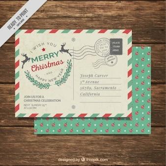 Kerstfeest uitnodiging met post stijl