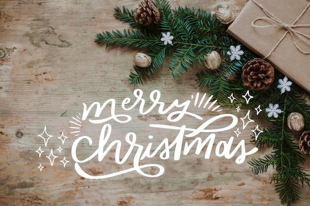 Kerstfoto met letters en takken