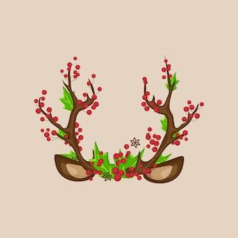 Kerstfoto prop stand masker herten hoorns met oren, rode bessen, groene bladeren.