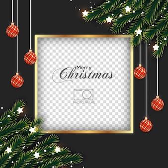 Kerstfotolijst met dennentak en licht