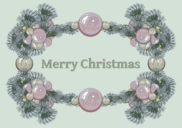 Kerstframe met de inscriptie van dennentakken en speelgoed van kerstboomballen