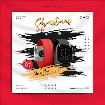 Kerstgadgetverkoop social media post instagram-bannersjabloon slimme horlogeverkoop
