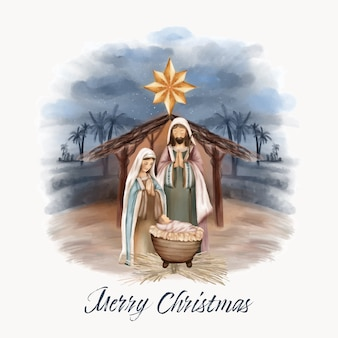 Kerstgeboorte van jezus in schuur