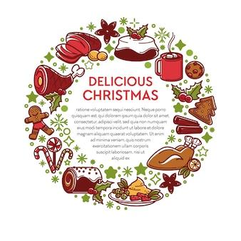 Kerstgerechten en eten, traditionele maaltijd voor kerstmis. banner met borden in cirkel, thee of koffie, taart met glazuur, peperkoekkoekjes, ham en vlees. menu met kip en maretak, vector in flat