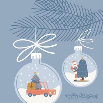 Kerstglas speelgoed opknoping op vuren takje. xmas decor met auto, dennenboom en santa binnen. vierkante wenskaartsjabloon. vector platte hand getekende illustratie.