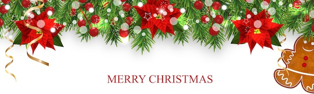 Kerstgrensversieringen met dennentakken, hulstbessen, poinsettia, peperkoekkoekjesman en gouden linten. ontwerpelement voor xmas banner op witte achtergrond.
