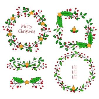Kerstgrenzen en frames pakken