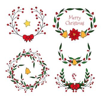 Kerstgrenzen en kaders hand getrokken