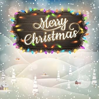 Kerstgroet kalligrafie - vintage landschap met uithangbord.